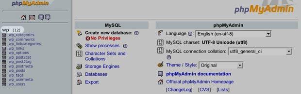 Repair MySQL Tables in phpMyAdmin