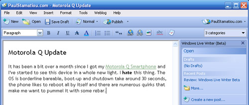 Windows Live Writer - Bug