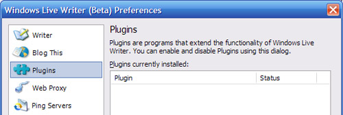 Windows Live Writer - plugins