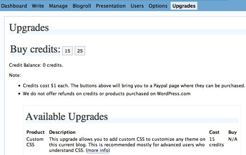 WordPress.com adds Custom CSS