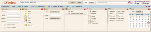 Zimbra Search Options