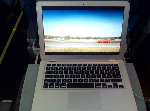 MacBook Air on a flight