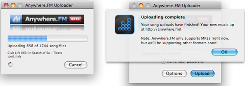 Anywhere.FM Uploader - Using iTunes library