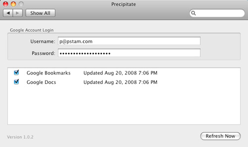 OS X Precipitate Settings