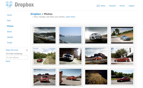Dropbox Web Interface for Photos