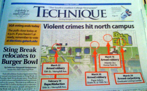 Georgia Tech Crimes on North Campus, 2008