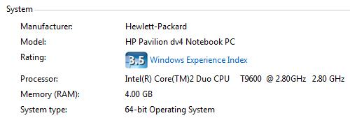 HP dv4t Performance