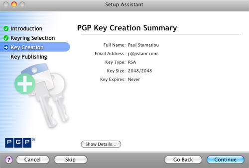 PGP Key Creation Summary