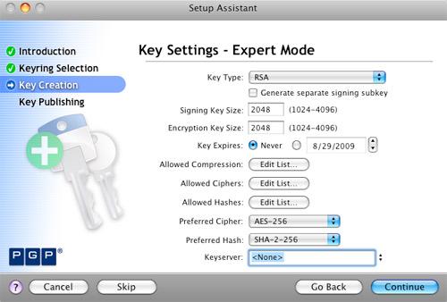 PGP Key Settings - Expert