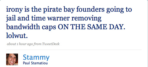 Pirate Bay, Time Warner Irony - Paul Stamatiou - Twitter