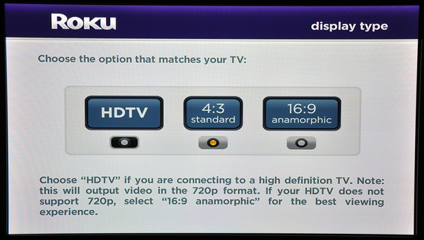 Roku Player Setup - Select Resolution