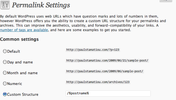 Change WordPress Permalink Settings