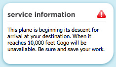 Gogoinflight flight status box