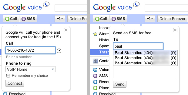 Google Voice - Send SMS, Click to Call