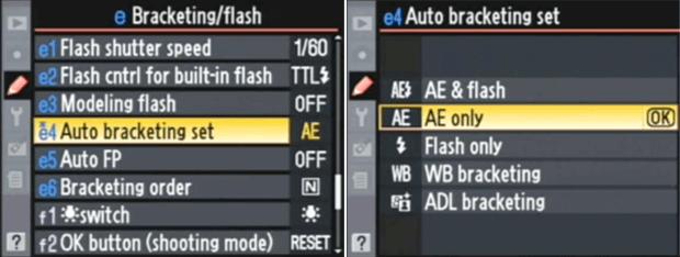 Nikon D90 menu - Auto Exposure Bracketing