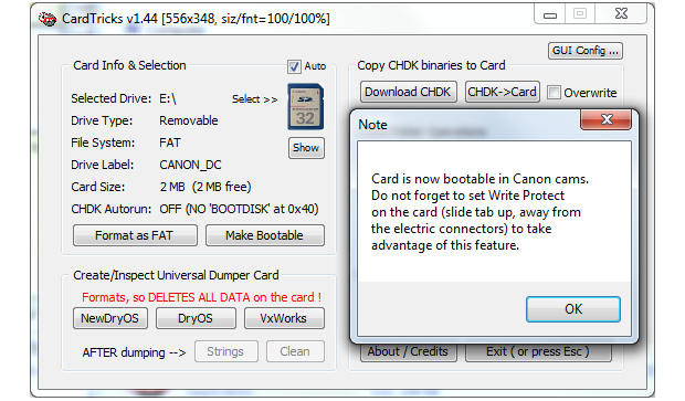 Format SD card for CHDK installation with CardTrick