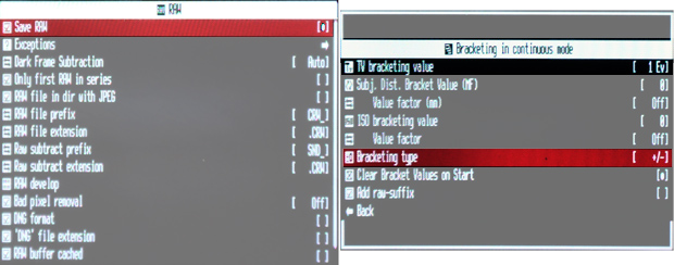 Canon 990IS CHDK menus - enable RAW and continuous bracketing