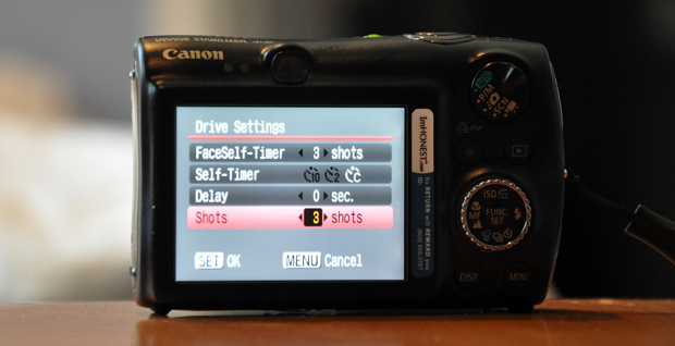 Canon 990IS - Setting Self-Timer for autobracketing