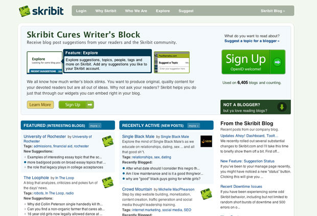 Cure Writer's Block - Skribit