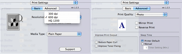 OS X Printer Settings - Brother HL-2170W
