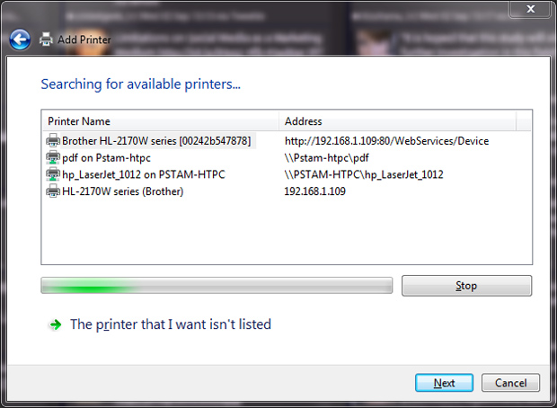 Installing the Brother HL-2170W printer on Windows 7