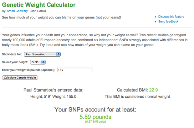 Genetic Weight Calculator - Health Labs at 23andMe