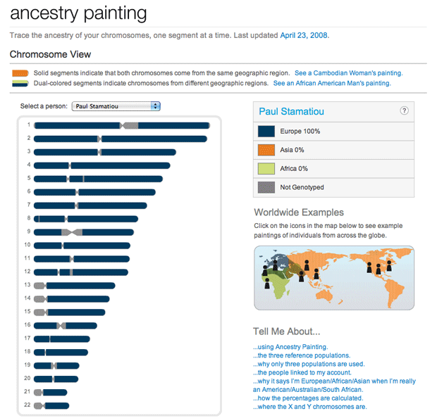 Ancestry Painting of Chromosomes on 23andMe