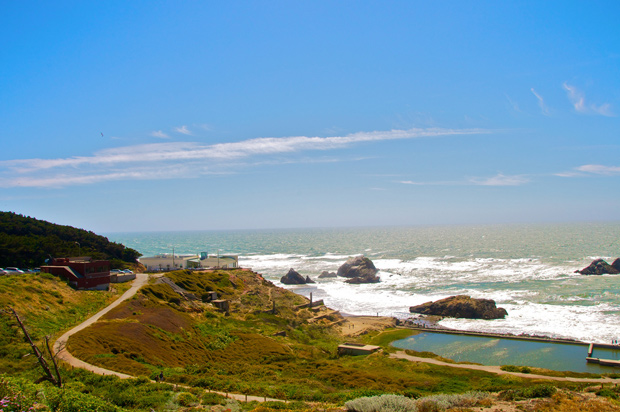 Ocean Beach in San Francisco near Cliff House and Sutro Baths
