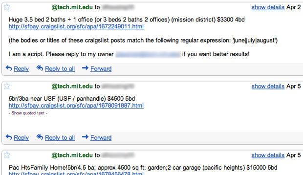 Script searching craigslist for apartments