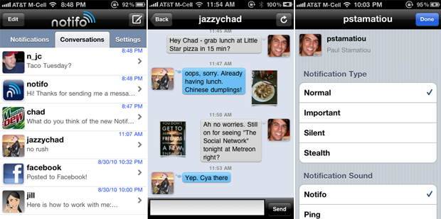 User Messaging in Notifo for iPhone