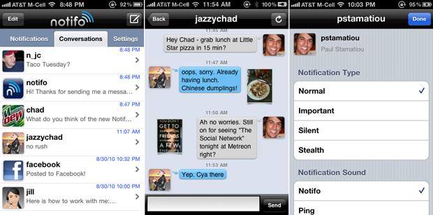 User Messaging in Notifo for iPhone