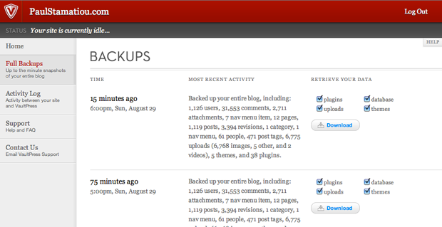 VaultPress WordPress Blog Backups