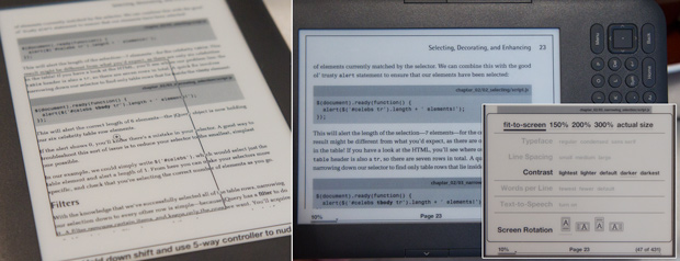 PDF reading and controls on the Amazon Kindle