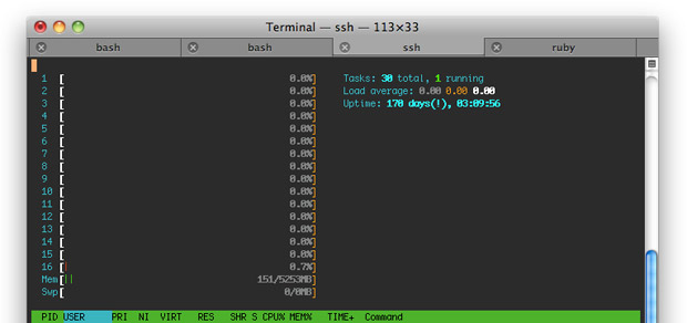 htop showing how happy my server is with the new setup