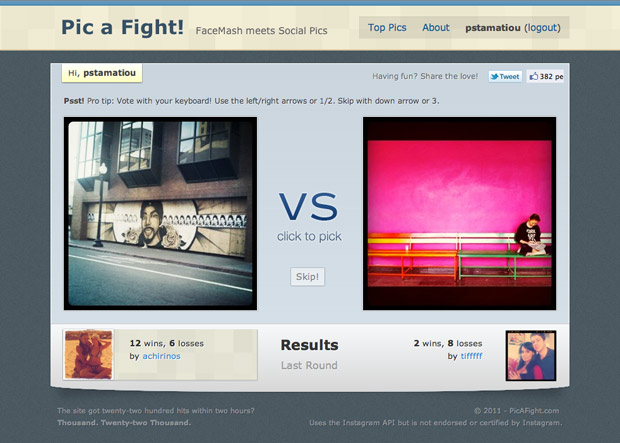 Pic A Fight homepage Results