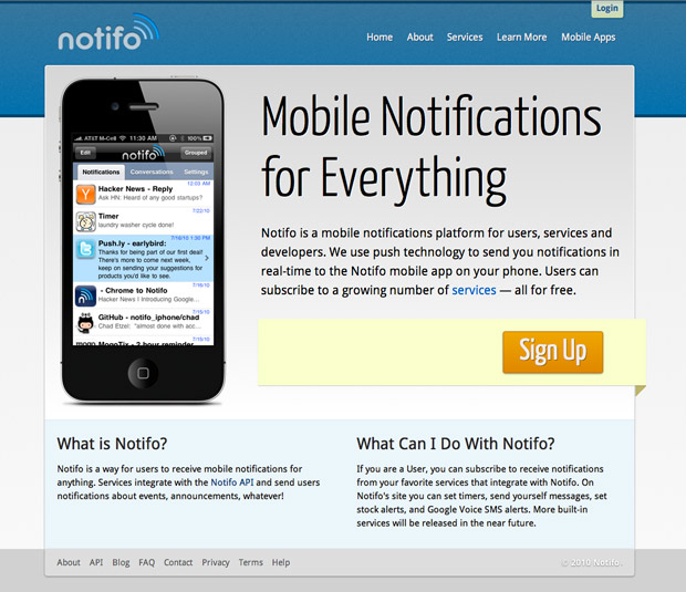 Notifo work in progress screenshot