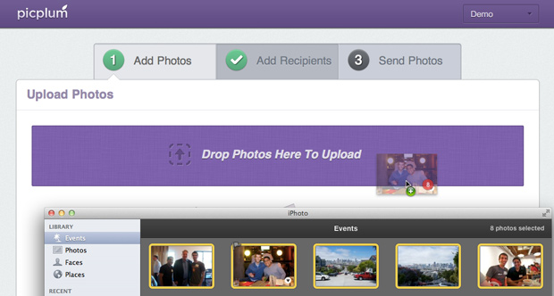 Drag and dropping photos from iPhoto into Picplum