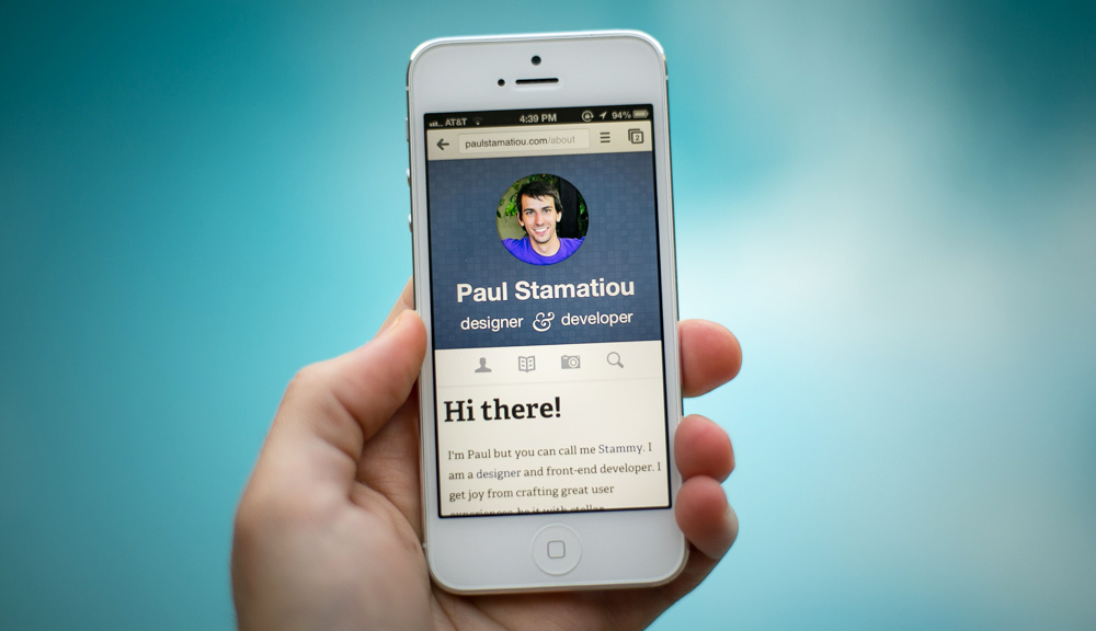 PaulStamatiou.com iPhone 5 responsive web design