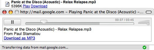 Gmail Adds mp3 player