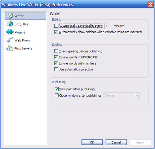 Windows Live Writer - Preferences