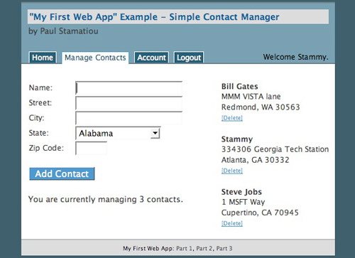 Webapp Example Screenshot - Manage Contacts
