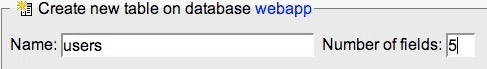 Webapp Database new table