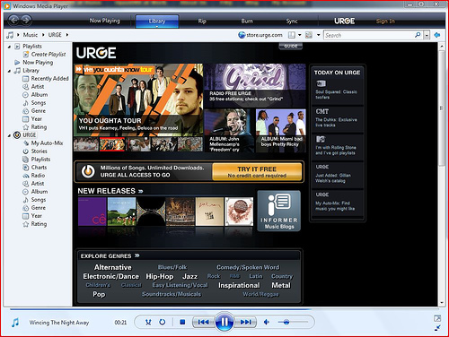 MTV Urge in Windows Media Player