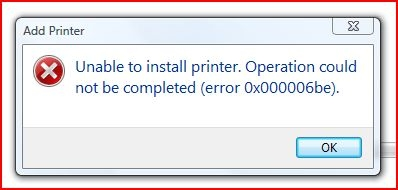 Vista Printer Error
