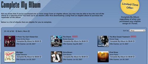 iTunes Store Complete My Album