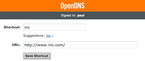 OpenDNS Shortcuts