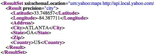 Yahoo! Geocoding XML
