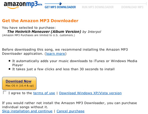 Amazon MP3 - Purchase Dialog