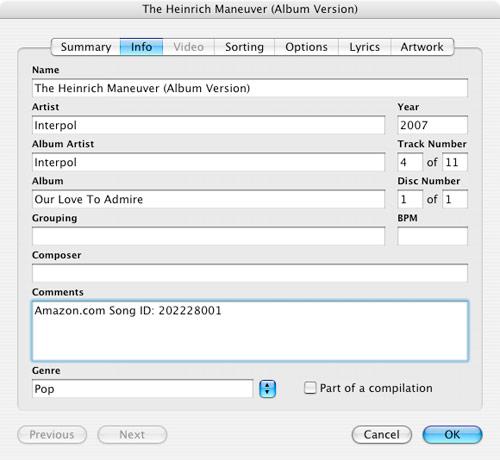Amazon MP3 Song Info