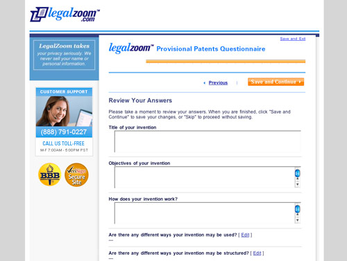 LegalZoom Provisional Patent